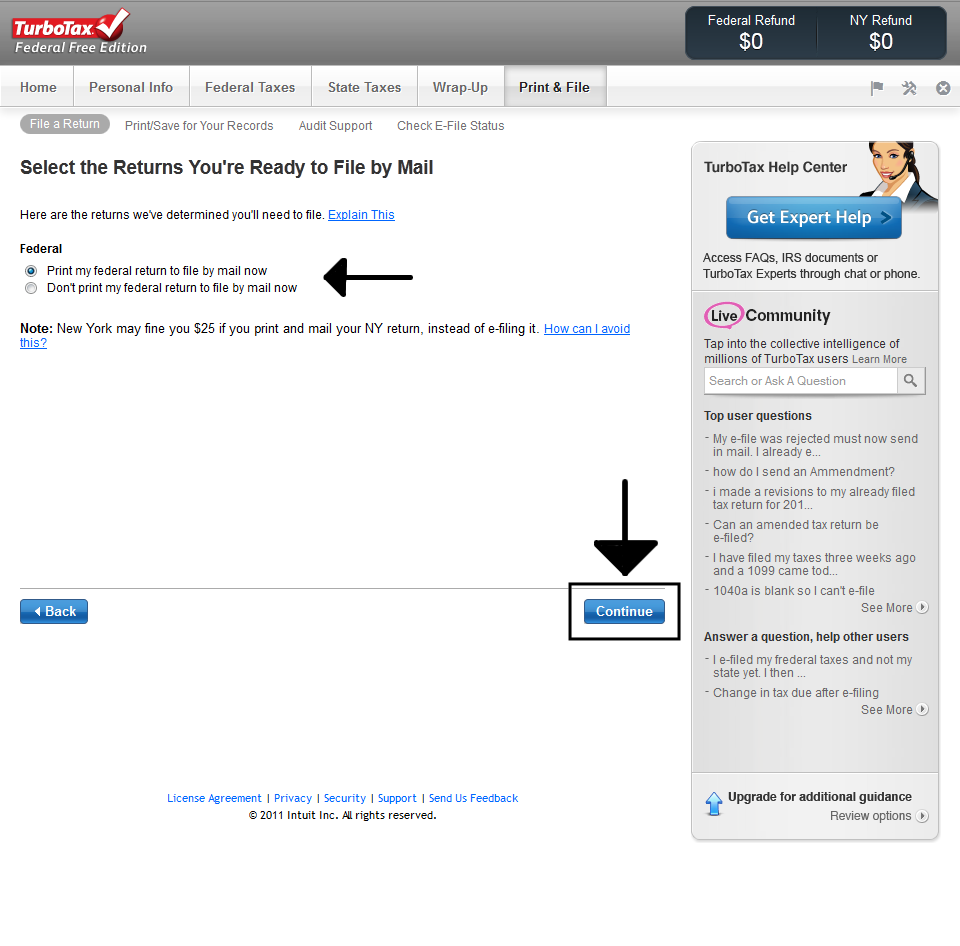 Printing TurboTax Online Tax Return 4