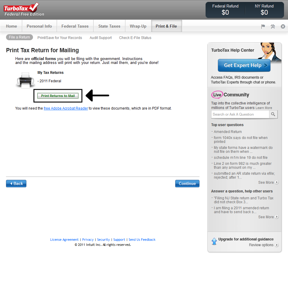 Printing TurboTax Online Tax Return 6