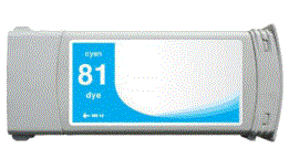 HP Designjet 5500 81 cyan dye ink cartridge, dye not pigment